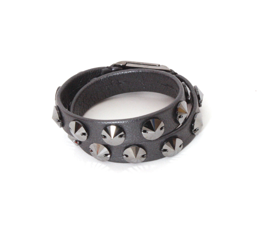 Grey leather wrap bracelet with pewter swarovski stones