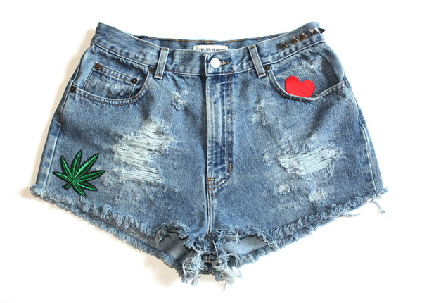 Marijuana Patch High Waisted Vintage Shorts Front