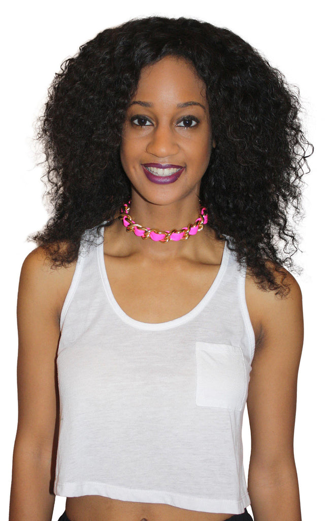 Neon pink leather and chain choker