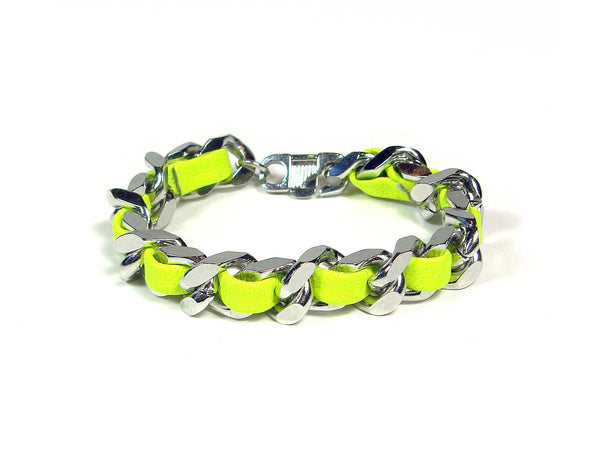 neon yellow leather woven chain bracelet