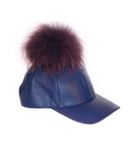Navy leather fur pom cap