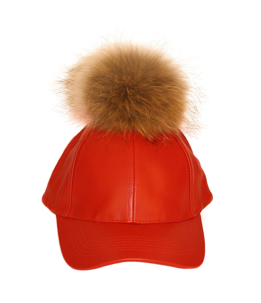 Red Leather Fur Pom Cap