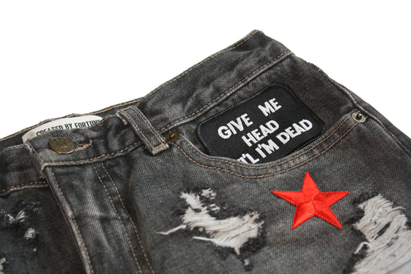 Shit Face Patch Vintage Denim Shorts Close Up