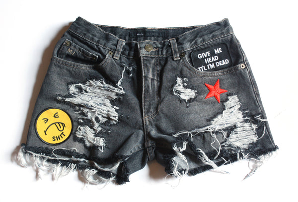 Shit Face Patch Vintage Denim Shorts Front