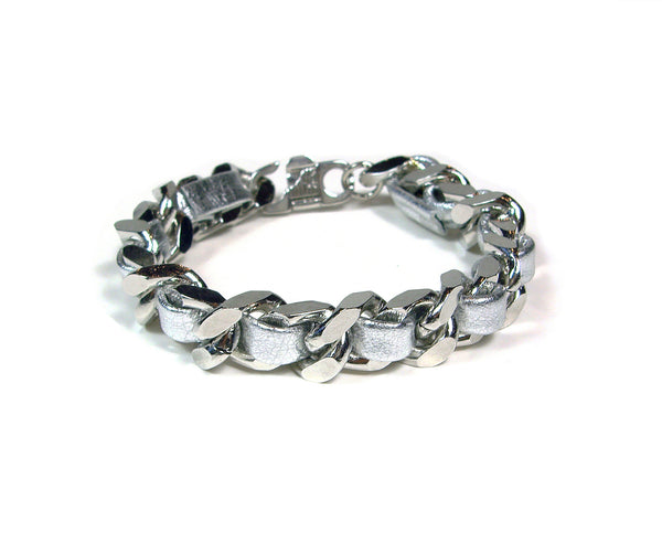 silver leather woven chain bracelet