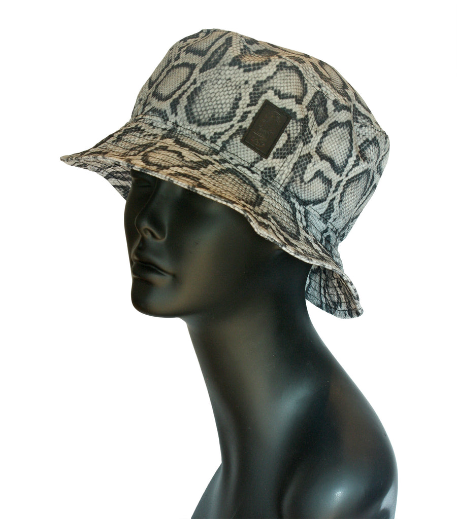 Snakeskin bucket hat front view