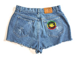 Super Girl Patch High Waisted Vintage Shorts Back