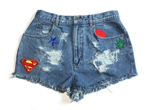 Super Girl Patch High Waisted Vintage Shorts Front