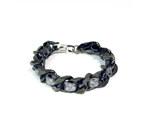 Pewter leather woven chain bracelet