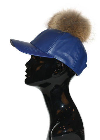 Black Leather Fur Pom Cap
