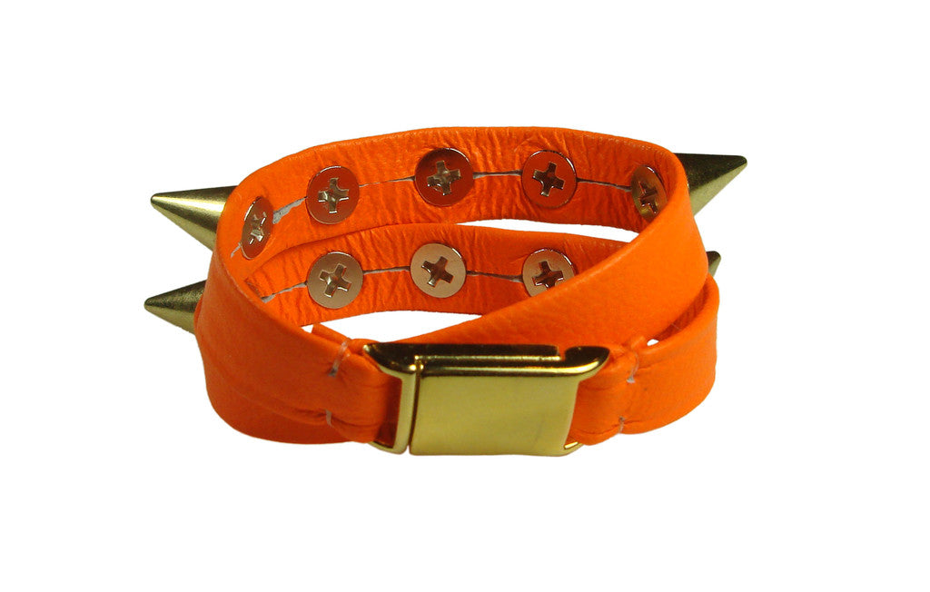 neon orange gold spiked leather wrap bracelet