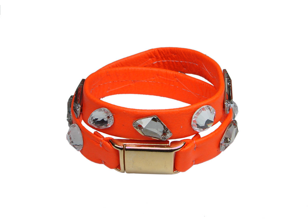 neon orange leather wrap bracelet with swarovski stones