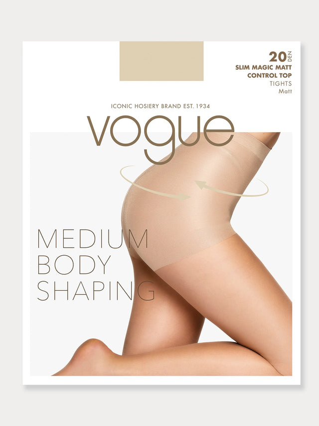 Vogue hosiery sheer, matt 20 den shaping tights.