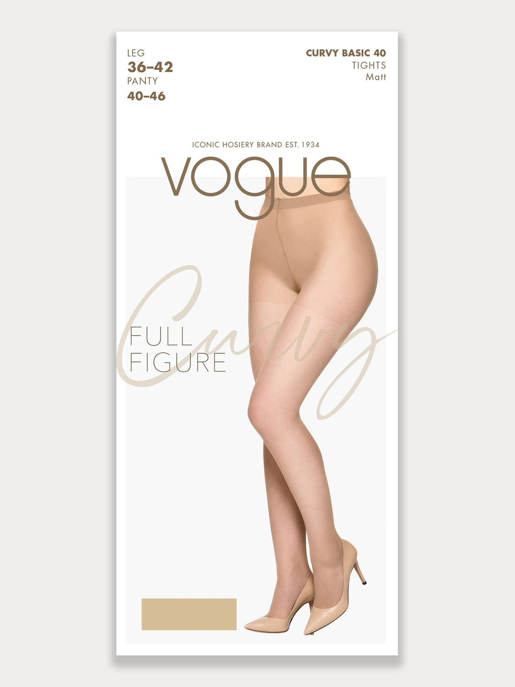 Sheer 40 denier tights in a matte look and with shorter leg designed specifically for plus size women.