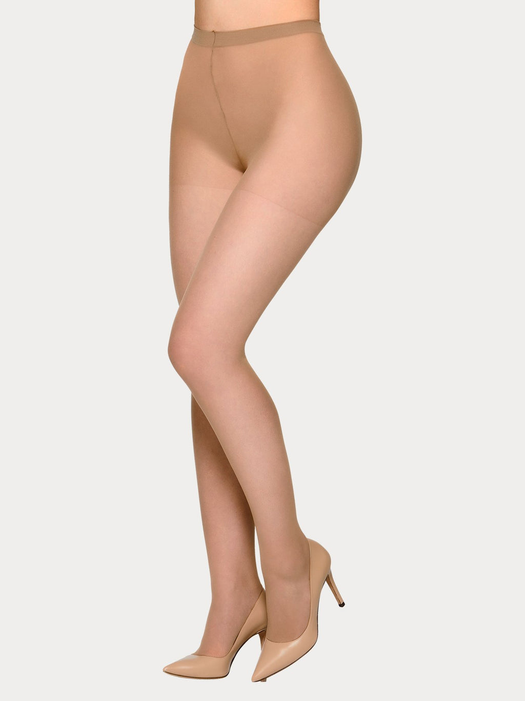 Vogue Hosiery sheer 20 denier tights in a matte look and with shorter leg designed specifically for plus size women.