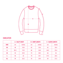 Load image into Gallery viewer, UFOC Sweater Size Chart