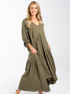 Long Sleeve Peak Maxi Dress in Khaki