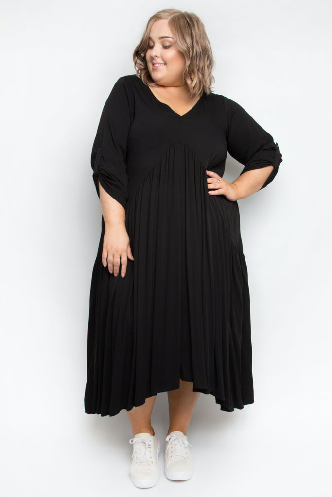 Long Sleeve Peak Maxi Dress in Black