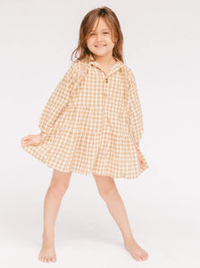 Kids Lullaby Club Avalon Smock Dress in Caramel Gingham