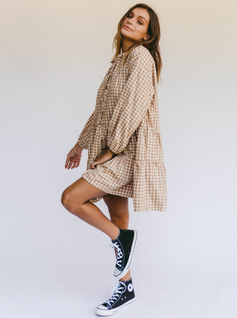 The Lullaby Club Avalon Smock Dress in Caramel Gingham