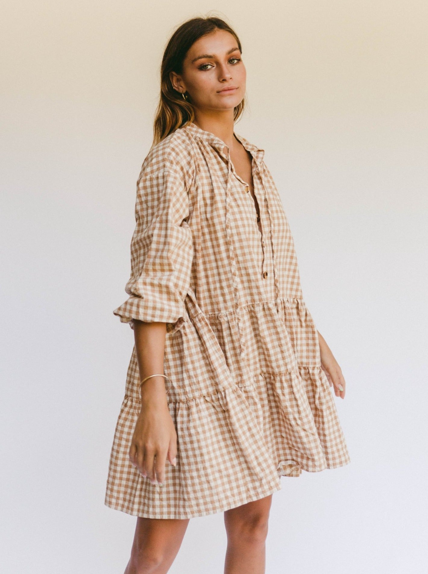 PREORDER The Lullaby Club Avalon Smock Dress in Caramel Gingham