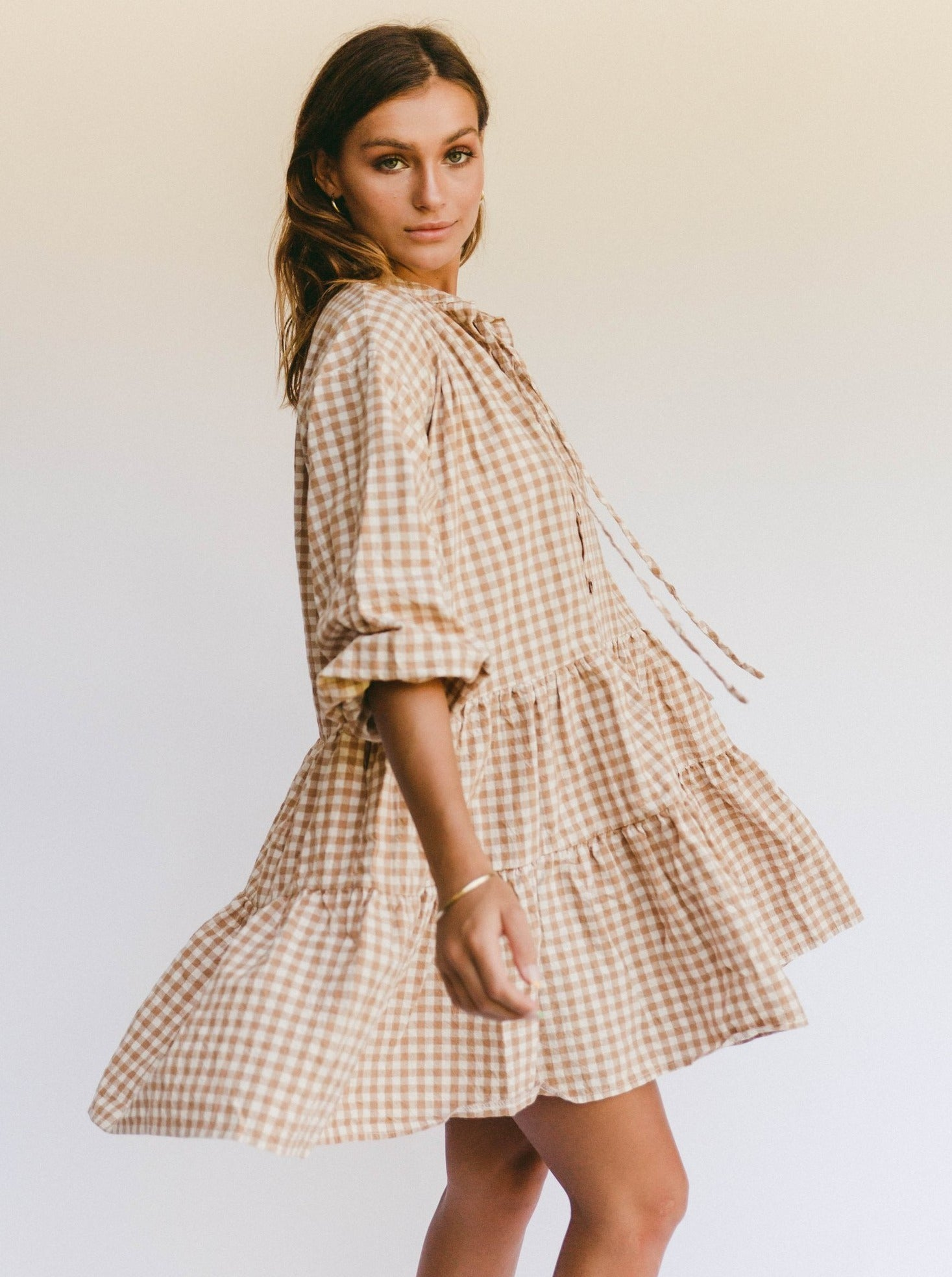 Lullaby Club Avalon Smock Dress in Caramel Gingham