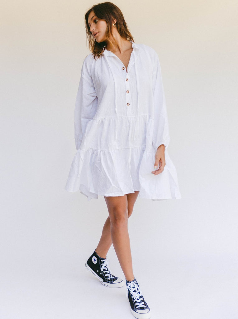The Lullaby Club Avalon Smock Dress in White