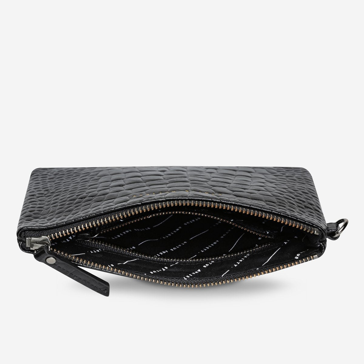 Status Anxiety Fixation Pouch in Black Croc Emboss
