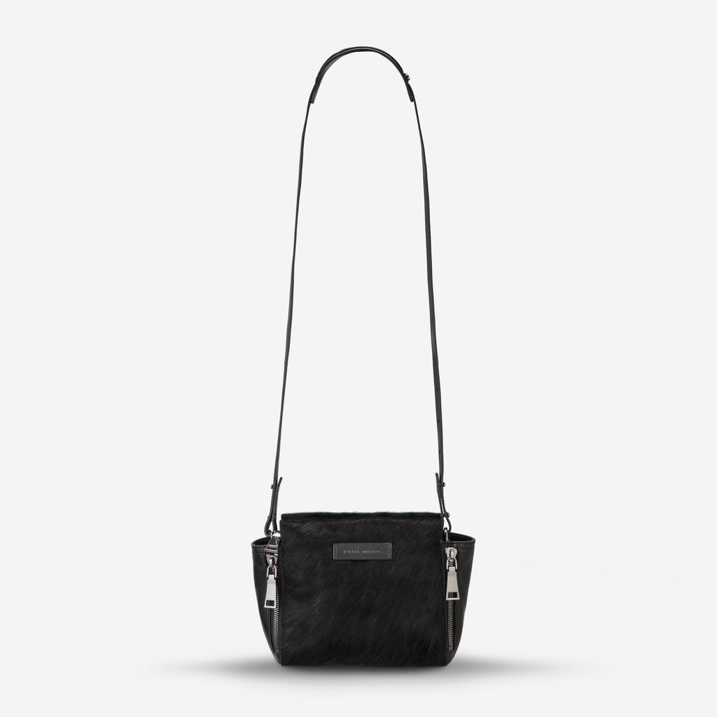 The Ascendants Cross Over Bag in Black Pebble/ Fur