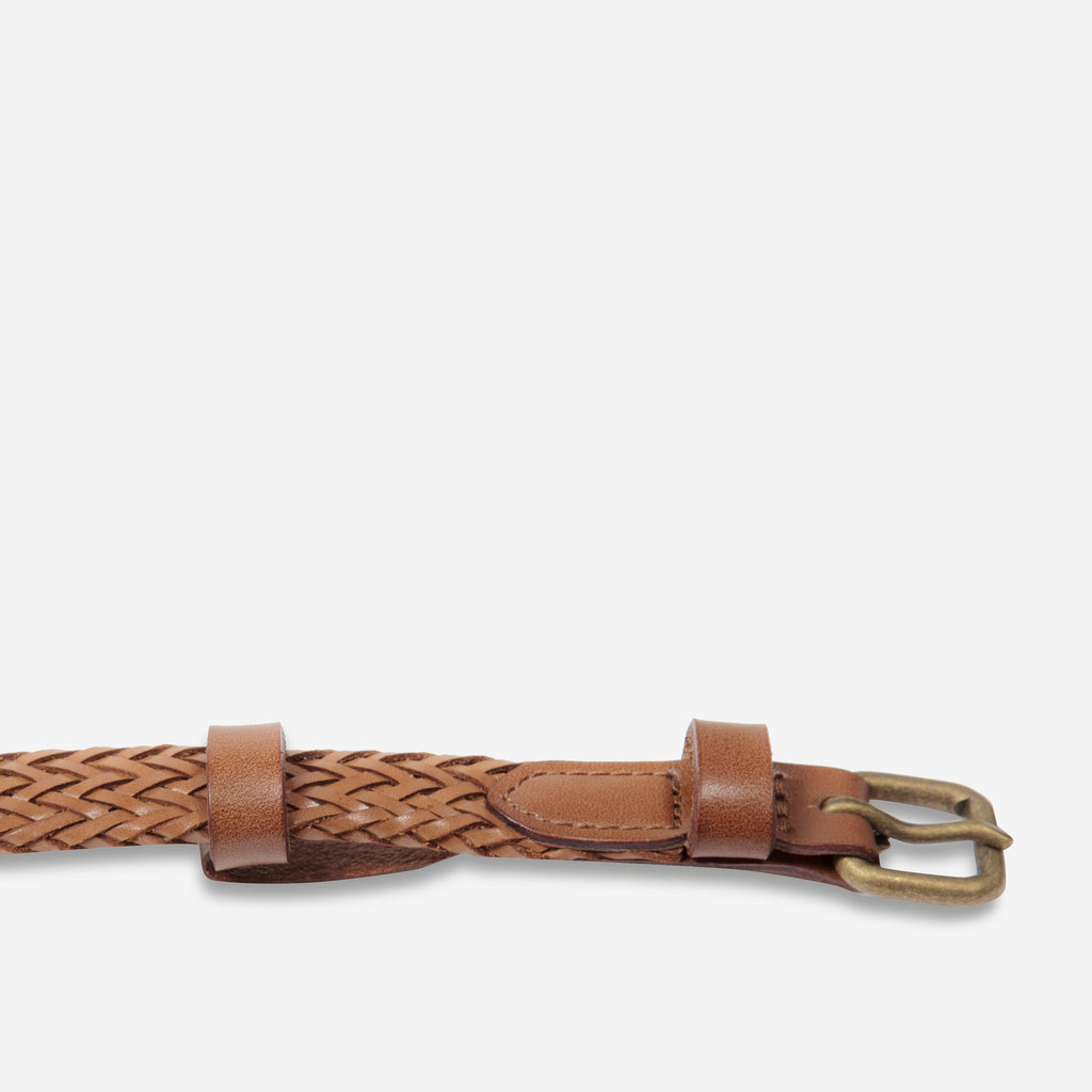 Only Lovers Left Belt in Tan Plaited