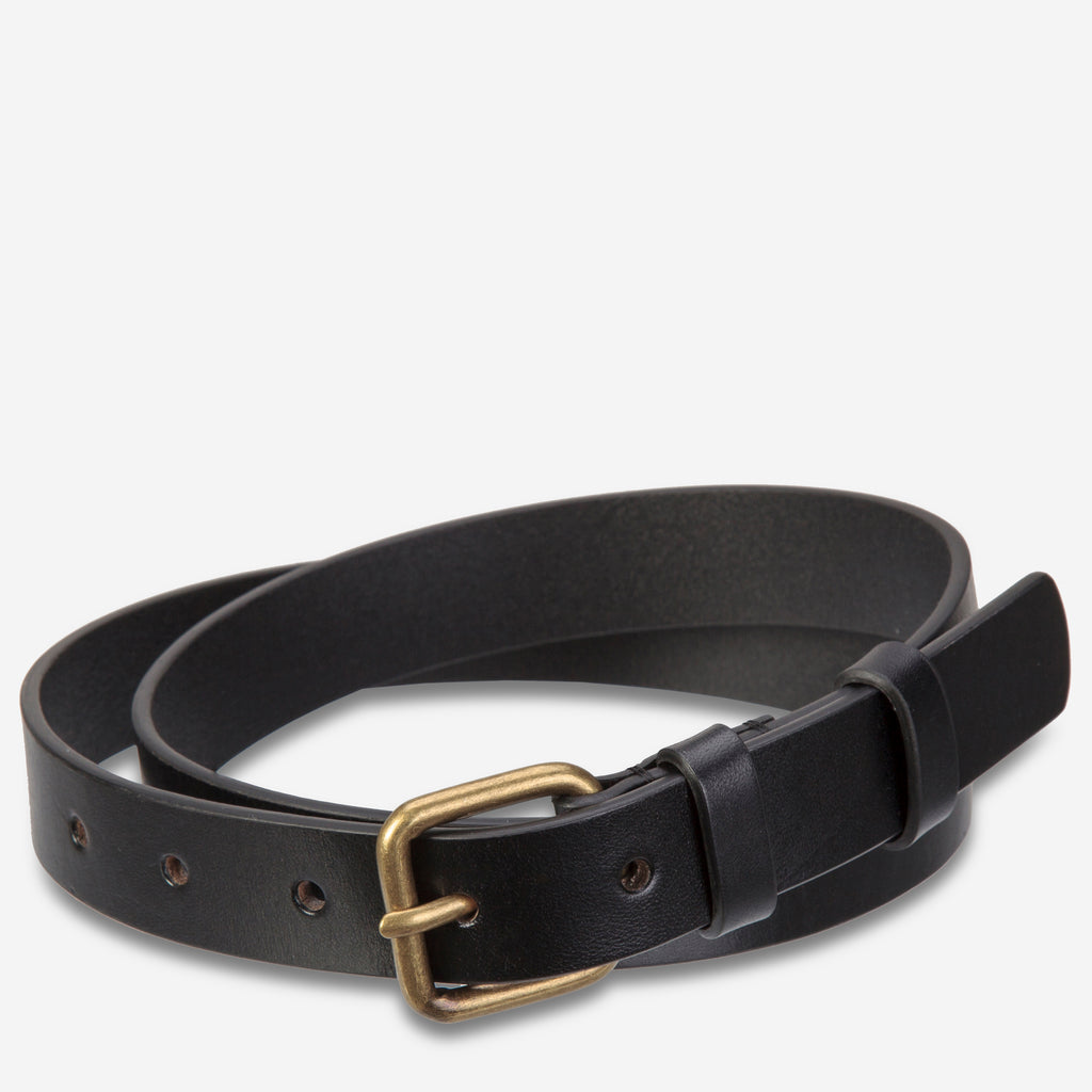 Revelery Cowhide Leather Belt in Black