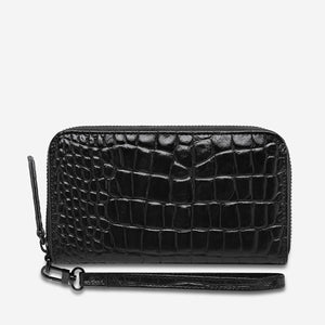 Moving On Wallet in Black Croc Emboss