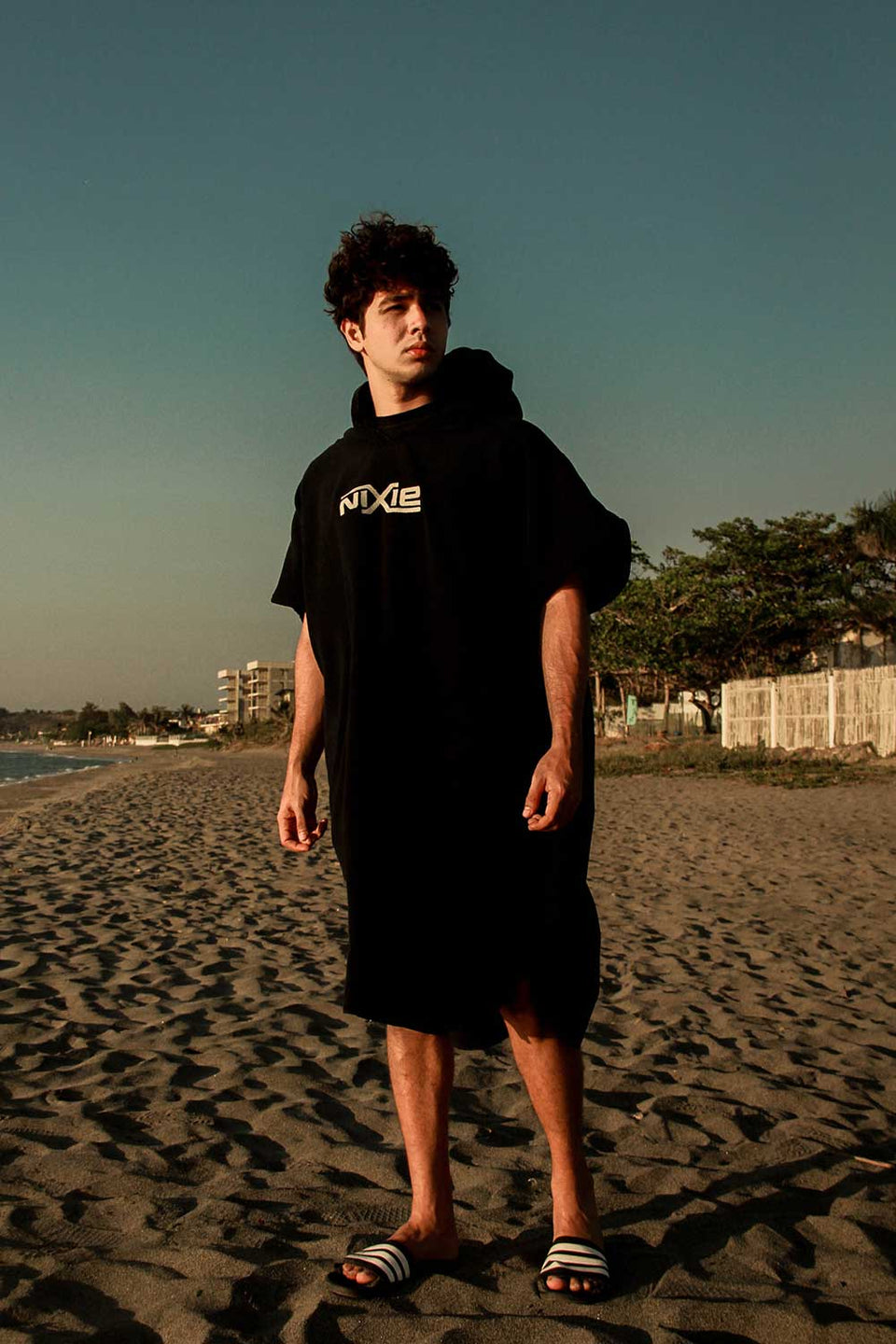 Nixie All Black Summer Poncho-Towel