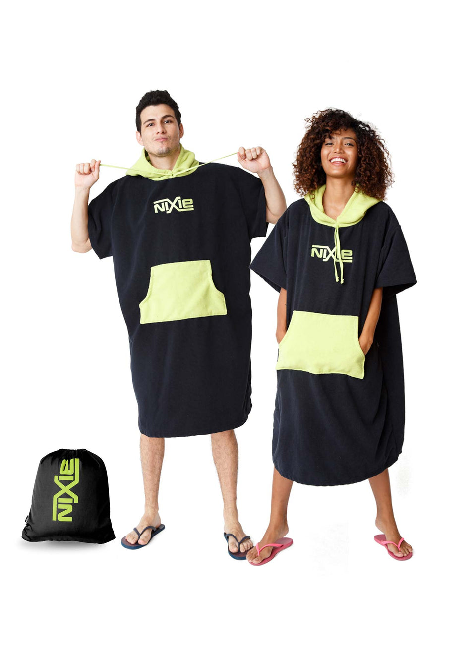 Nixie Black/Lime Poncho-Towel