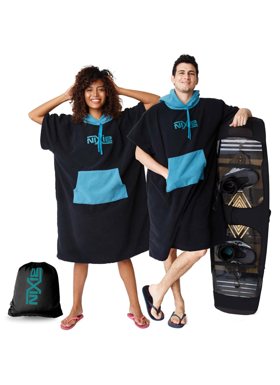 Black/Teal Poncho-Towel