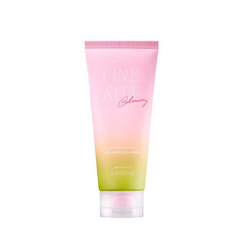 Missha Pink Aloe PH Balancing Foaming Cleanser 140ml - Glowfull Skincare Beauty
