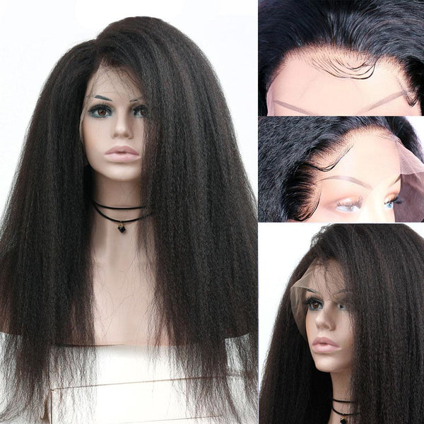Kinky Straight Wig Lace Front Human Hair Wigs Brazilian 360 Lace Frontal Wig
