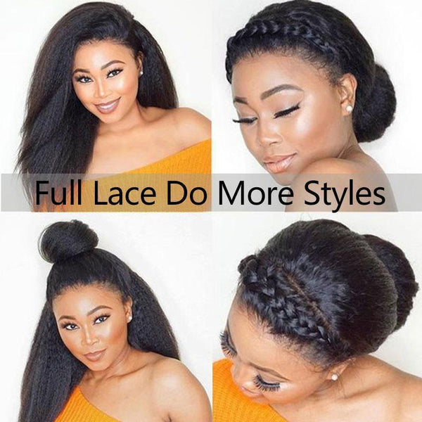 Kinky Straight 200 Density Glueless Full Lace Wigs Brazilian Pre Plucked Full Lace Human Hair Wigs With Baby Hair Ever Beauty