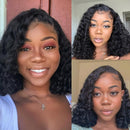 2019 New Short Human Hair Curly Bob  Lace Wig