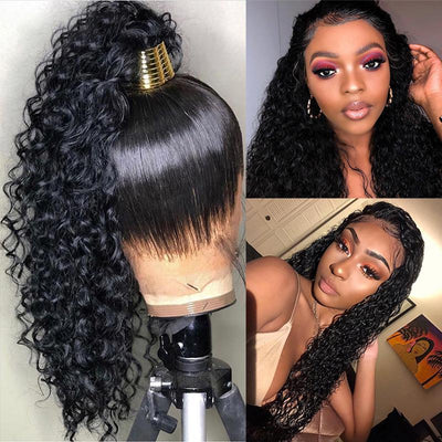 Curly Human Hair Wig Water Wave Wig 360 Lace Frontal Wig Pre Plucked With Baby Hair
