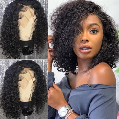 Brazilian Deep Curly Short Bob Wigs  Lace Front Human Hair Wigs Lady Wig