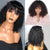 Charming black front lace short curly wig