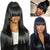 Brazilian Straight Lace Front Wig With Bangs For Women Fake Scalp Human Hair Wigs