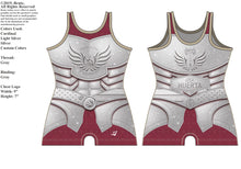 "Load image into Gallery viewer, *NEW* ""Armor of Hope"" Ladies Singlet (Cardinal Sparkle) G2 LJ Wrestling Inc"