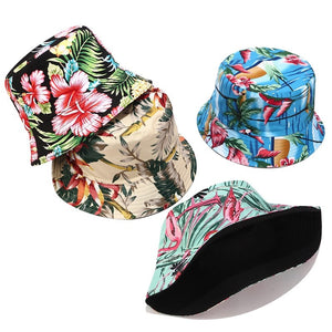 Flower Print Bucket Hat Reversible Fisherman Hat Women Men Outdoor Travel Sun Hat Panama Bucket Cap Hats For Girl