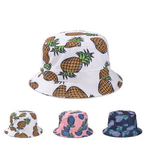Free Shipping 2017 New Fashion Lovely Summer White Pineapple Printed Bucket Hats Outdoor Pineapple Fishing Sun Caps Women Girls