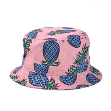 Load image into Gallery viewer, Free Shipping 2017 New Fashion Lovely Summer White Pineapple Printed Bucket Hats Outdoor Pineapple Fishing Sun Caps Women Girls