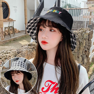 Double Sided Letter Plaid Bucket Hat Girl Women lovely Bob Femme Caps Summer Panama Sweet Heart Sun Hats For Women fisherman hat