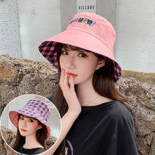 Load image into Gallery viewer, Double Sided Letter Plaid Bucket Hat Girl Women lovely Bob Femme Caps Summer Panama Sweet Heart Sun Hats For Women fisherman hat