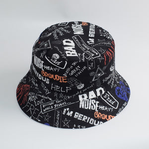 Summer Cotton Bucket Hat Two Side Letter Print Men Women Outdoor Hip Hop Foldable Bob Fisherman Hat Casual Travel Gorros Panama
